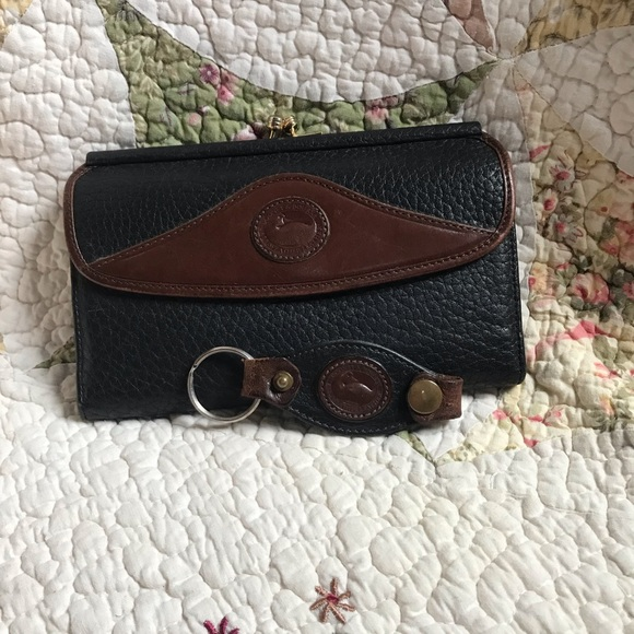 Dooney & Bourke Handbags - VTG Dooney & Bourke Black/BC Wallet & Key Fob